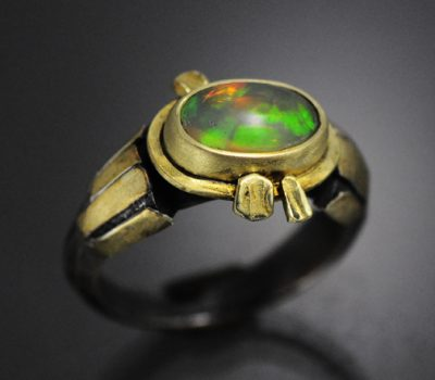 Ethiopian Opal Ring Sterling Gold
