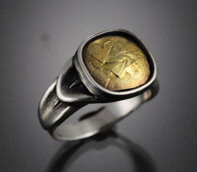 Feather Ring Sterling Silver 18k Gold