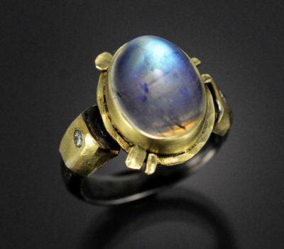 Moonstone Diamond Ring Sterling Gold