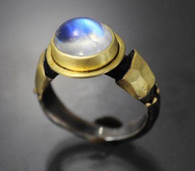 Moonstone Ring Sterling Gold
