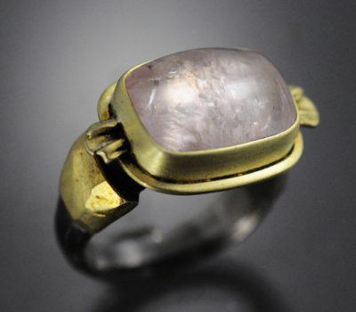Rectangle Cabachon Morganite ring Sterling Gold