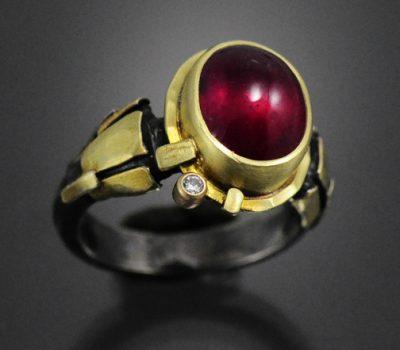 Ruby Diamond Ring Sterling Gold